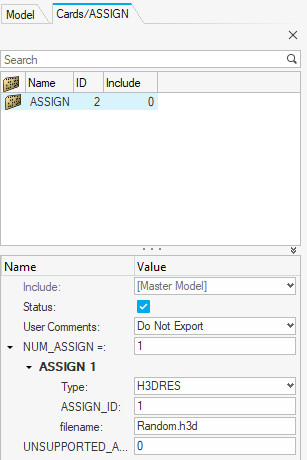 Altair OptiStruct assign kartı