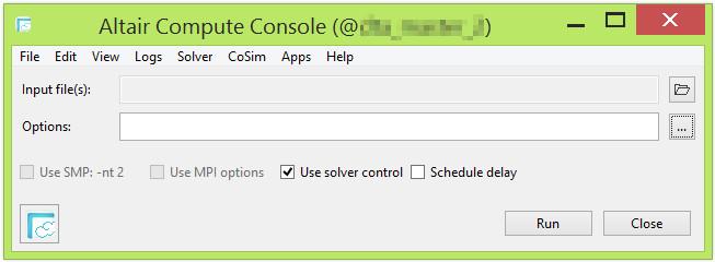 Altair Compute Console çözüm başlatma arayüzü