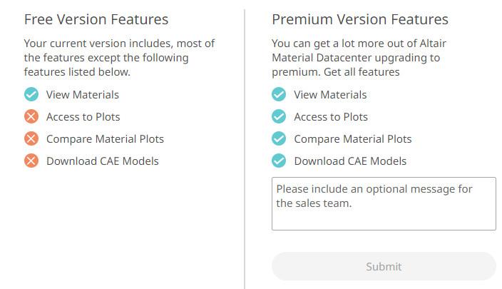 Altair malzeme veri kütüphanesi versiyon karşılaştırması