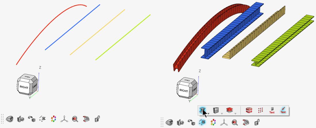 1D kiriş elemanları 3 boyutlu gösterme