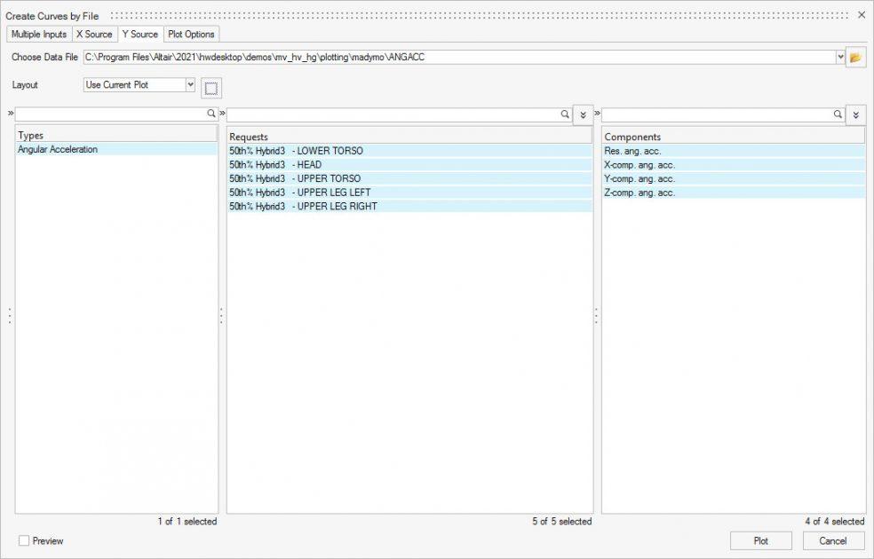 Altair HyperWorks 2D eğri dosyası açma paneli