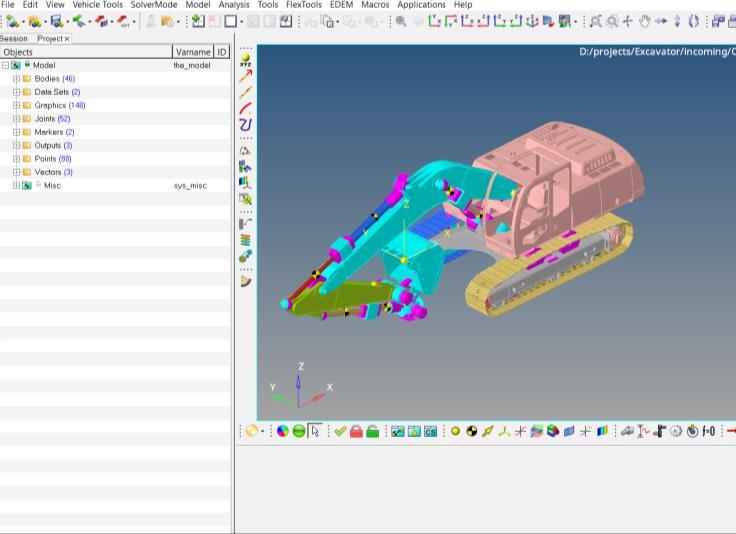 Altair MotionView ekskavatör modeli