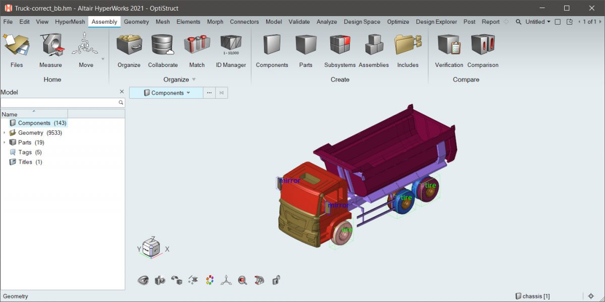 Altair HYperWorks shape AI özelliği ile kamyon parçalarının sınıflandırılması