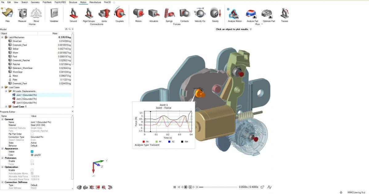 Altair Inspire Motion, mandal mekanizma MBD modeli