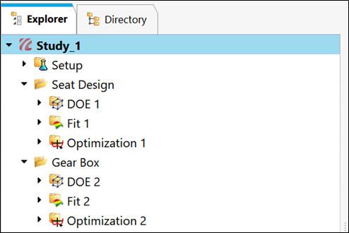 HyperStudy, kullanıcı tanımlı klasörlerde gruplandırılma